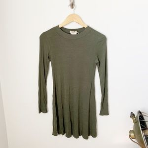 PPLA Clothing Green Ribbed Sweater Dress
